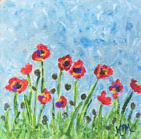 "Poppies - 3""x3"" SOLD"