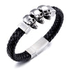 Skull Trio Leather Bracelet