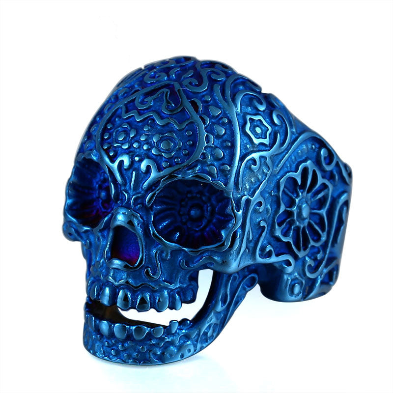 Blue Glacial Skull Ring - Stainless Steel