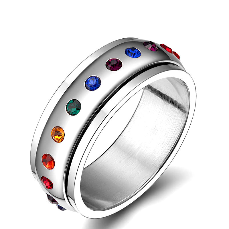 Rainbow Crystal Spin Pride Ring