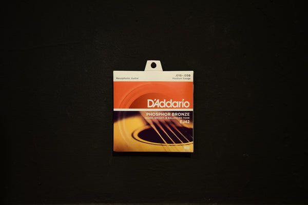 D'Addario EJ42 Phosphor Bronze Resophonic Guitar Strings, Medium, 16/56