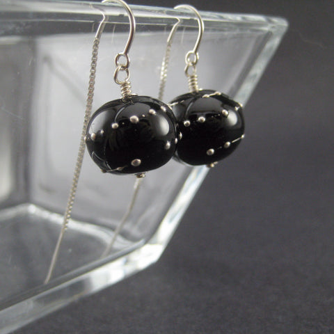 Black with Silver Droplets Threaded