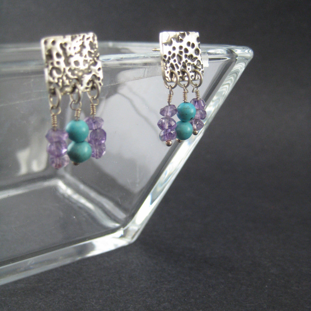 Surface of the Moon Silver Square Posts with Turquoise and Amethyst