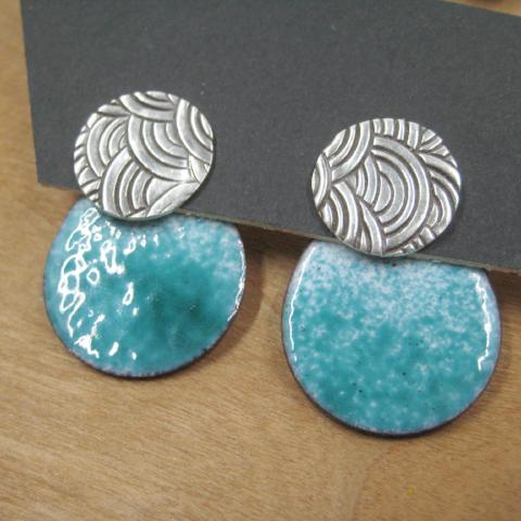Sunset Circle with Enamel Ear Jacket | Turquoise & White