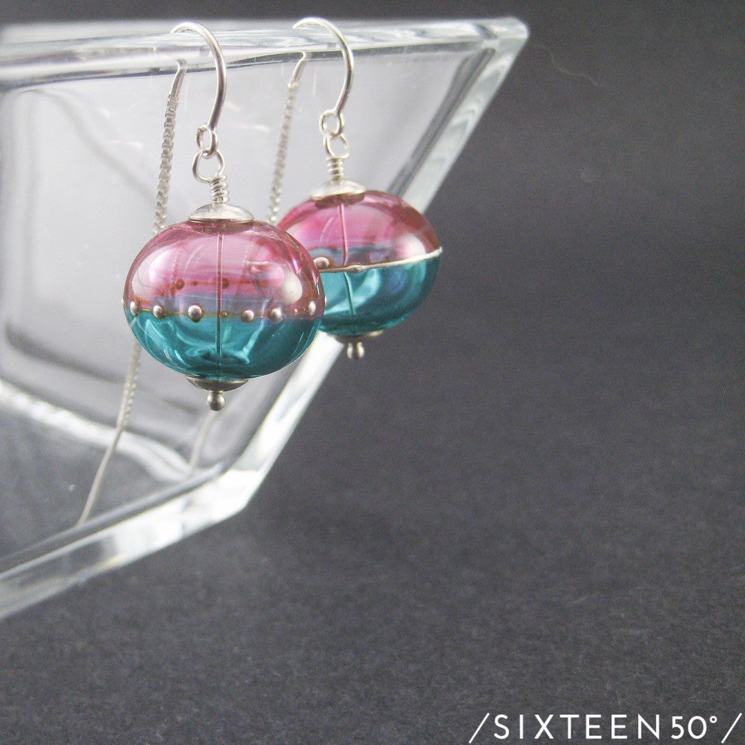 Pink Blue & Silver Threaded Earrings