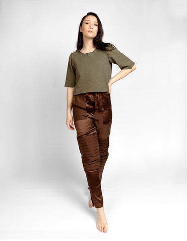 Silk Contrast Pants