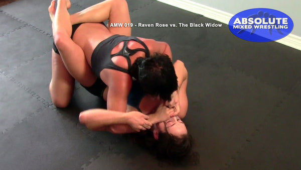 The Black Widow hand-over-mouth smothers Raven Rose female submission apartment Absolute Mixed Wrestling