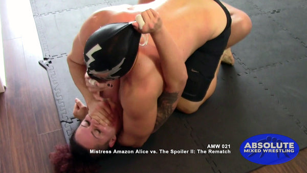 Mistress Amazon Alice The Spoiler intergender competitive apartment Absolute Mixed Wrestling hand smother mask pull