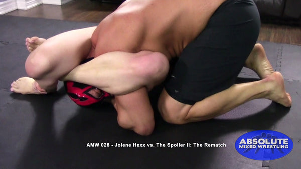 Jolene Hexx The Spoiler competitive submission apartment Absolute Mixed Wrestling triangle choke