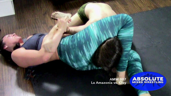 La Amazonia Clay competitive submission intergender apartment Absolute Mixed Wrestling reverse triangle choke
