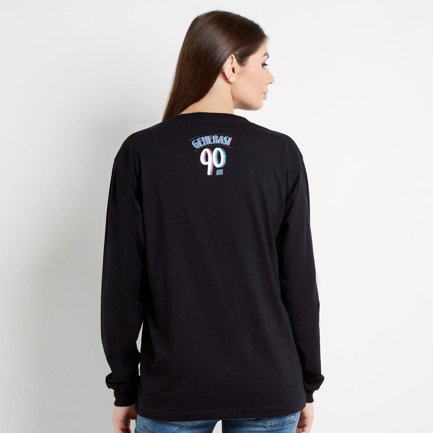 T-shirt Logo Pesawat Long Sleeve Black