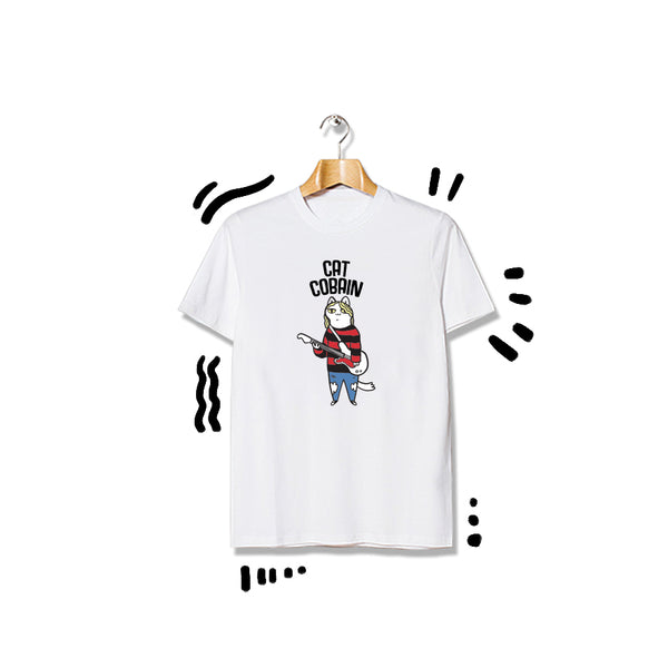 T-shirt Cat Cobain Shortsleeve White