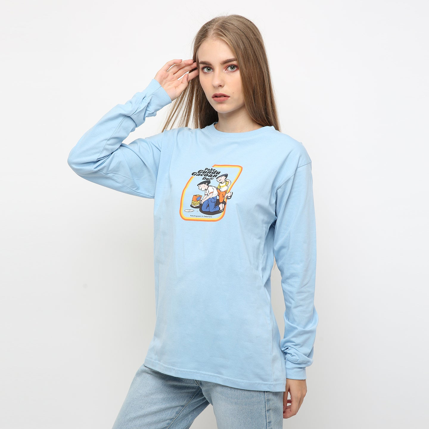 T-shirt Gundu Long Sleeve Baby Blue