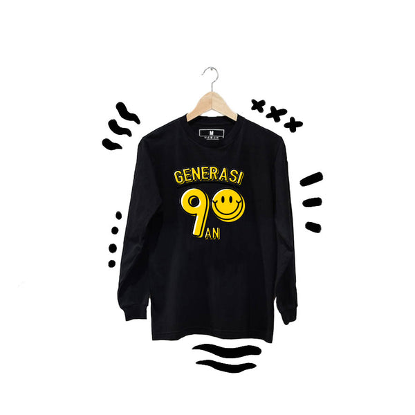 T-shirt Smiley Long Sleeve Black
