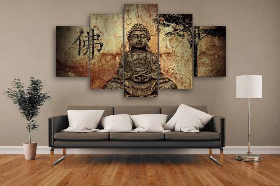 5 panel buddha wall art peak vibrations. Black Bedroom Furniture Sets. Home Design Ideas