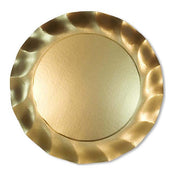 Satin Gold Wavy Paper Charger/8pk
