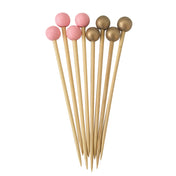 Pink & Gold Assorted 3.5 Inch Wood Party Pick/12pk