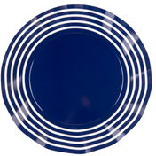 Navy Stripe Wavy Paper Dinner Plate/8pk