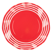 Red Stripe Wavy Paper Salad Plate/8pk