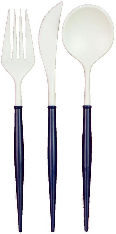 White and Navy Bella 24pc Assorted Flatware