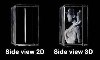 2D to 3D photo conversion for 3D laser photo crystals