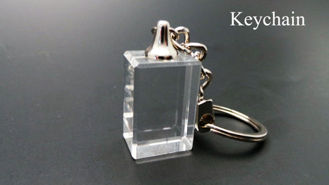 keychain crystal life designs 3D laser etched photo crystal