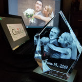 Iceberg Shaped 3D Laser Photo Crystal With FREE Light Base