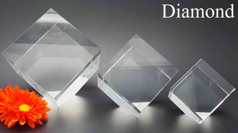 Diamond shaped 3D laser etched crystal photo Canada