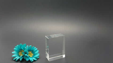 Cube shaped 3D laser etched crystal photo Canada