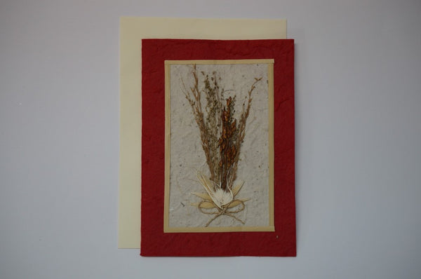 Red Wheat Flower Bouquet Envelope