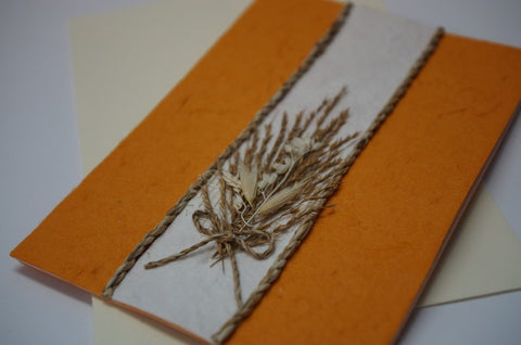 Orange Card with Wheat Bouquet Close Up