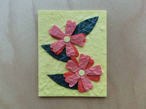 Mini Card: Flowers with Yellow Background (904)