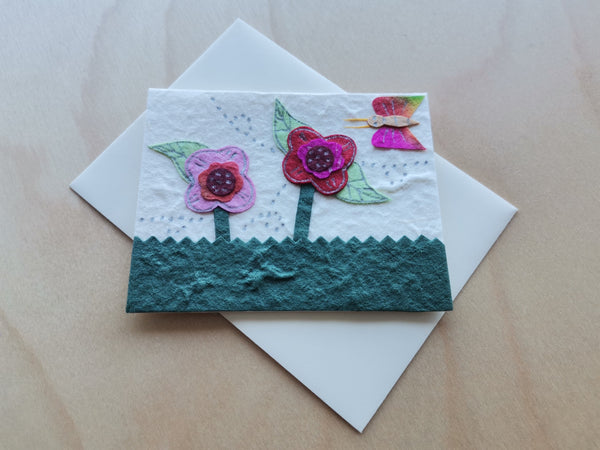 Mini Card: Flowers and a Butterfly (906)