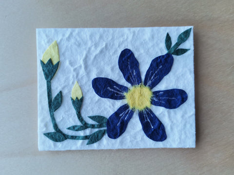 Mini Card: Blue Flower and Yellow buds (908)