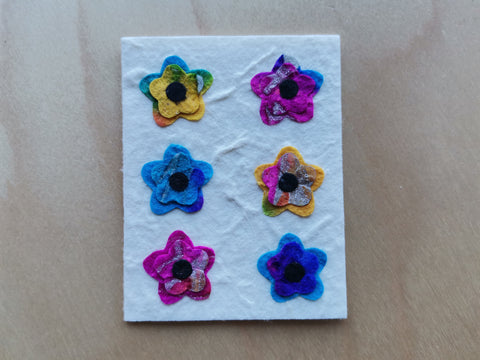 Mini Card: 6 Multi Color Flowers (909)