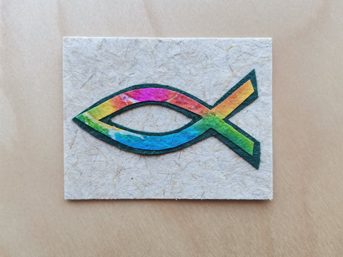Mini Card: Multi Color Christian Fish (912)