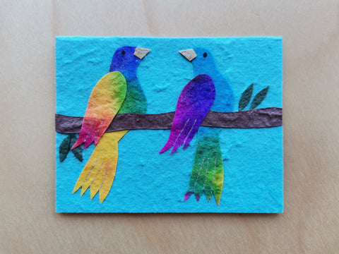 Mini Card: Two Colorful Birds (914)
