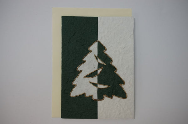 Christmas Tree Green and White Envelope
