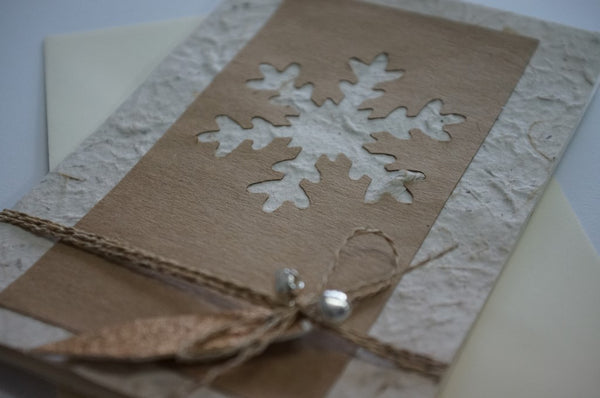 Snowflake and Bells Brown Close Up 2
