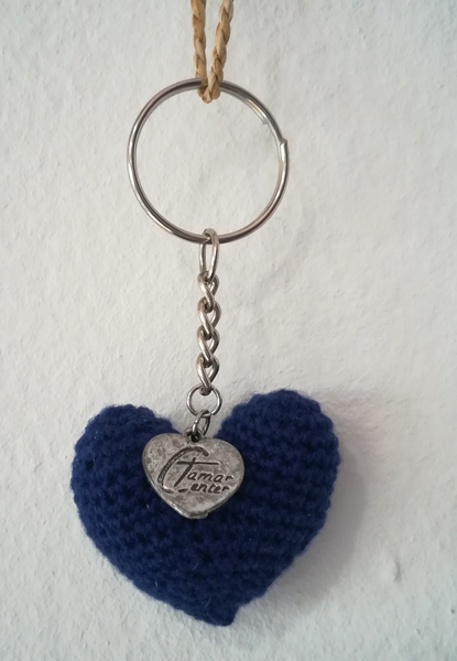 Crochet Heart Keyring with Tamar Heart (Various colours available)