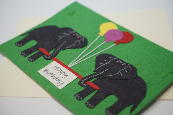 Elephants With Colored Balloons Close Up