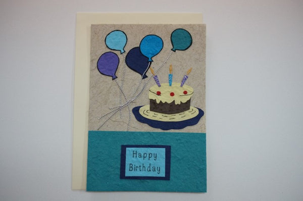 553 Cake with  Balloons Blue Envelope