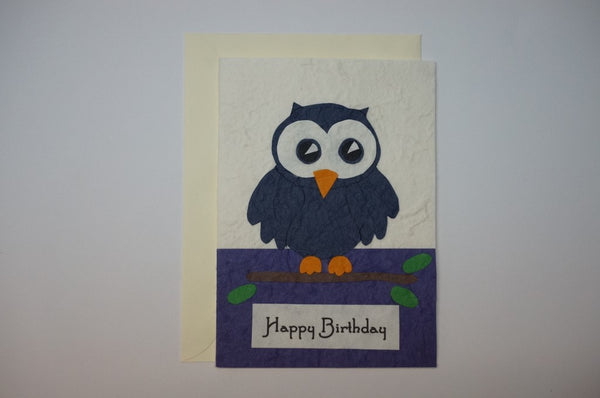 Blue Birthday Owl Envelope