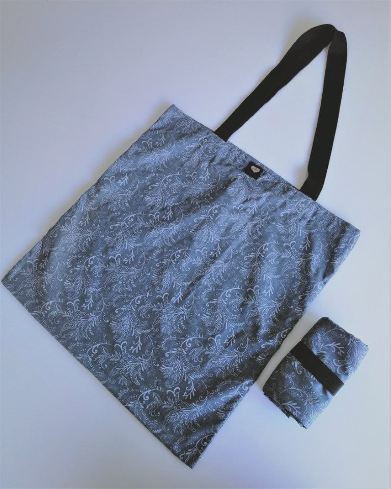 Tamar Shopping Bag (6500) Grey Baroque Pattern, foldable