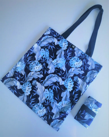 Tamar Shopping Bag (6501) Blue Leaf Pattern, foldable