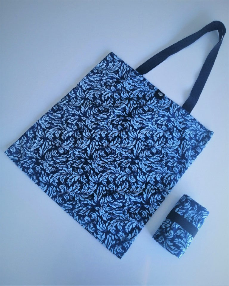 Tamar Shopping Bag (6504) Blue Baroque Pattern, foldable