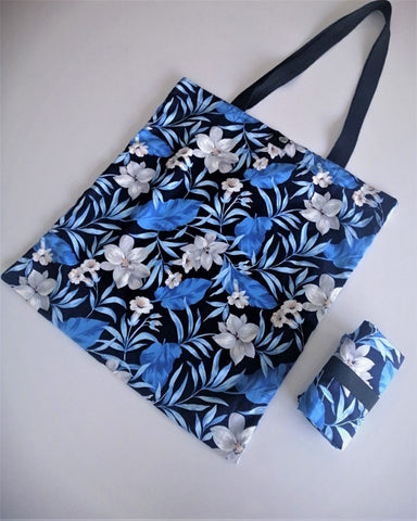 Tamar Shopping Bag (6506) Flowers and Blue Leafs Pattern, foldable