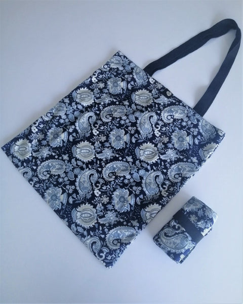 Tamar Shopping Bag (6510) Large Floral Pattern with Navy background, foldable