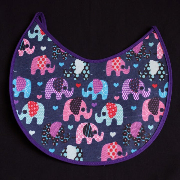 Cute Elephant Design on Dark Blue Background and Purple Border