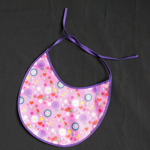 Baby Bib Pink Background with Cute Flower/Heart/Circle Pattern and Lilac Bordure